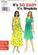 Simplicity 7701 Misses' Dress in 2 Lengths, Sizes 8 - 18
