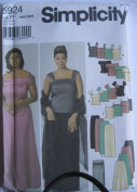 SIMPLICITY PATTERN 5924 WOMEN'S EVENING TOPS, SLIM AND FLARED SKIRTS AND WRAP SIZE FF 18W-24W