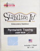 STABALIZE IT EMBROIDERY STABALIZER. PERMANENT TOPPING LIGHT BLUE
