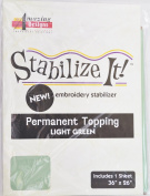 STABALIZE IT EMBROIDERY STABALIZER. PERMANENT TOPPING LIGHT GREEN