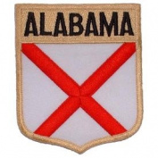 United States USA State Flag Shield Crest Novelty Iron On Patch - Alabama Applique