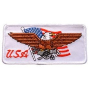 USA America Novelty Iron On Patch - Eagle w/ USA Flag & Cannon White Applique