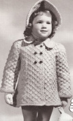 Vintage Knitting PATTERN to make - Knitted Child's Toddler Coat & Poke Bonnet Hat. NOT a finished item. This is a pattern and/or instructions to make the item only.