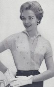 Vintage Knitting PATTERN to make - Knitted Eyelet Blouse Top Sweater Cardigan 1950s. NOT a finished item. This is a pattern and/or instructions to make the item only.