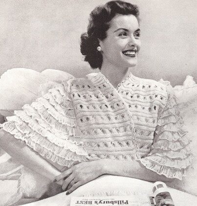 Vintage Knitting Pattern To Make Knitted Lace Bed Jacket Sweater