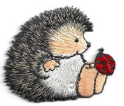 Animals, Hedgehog w/ Ladybug - Iron on Embroidered Applique Patch-cute Critters Cute Gift to Your Cloth.