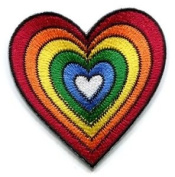 Heart Love Gay Lesbian Pride Rainbow Flag Lgbt Applique Iron-on Patch New S-130 Cute Gift to Your Cloth.