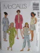 McCall's Pattern 3547 Girls' Unlined Jacket, Tops, Capri Pants and Skirt Sizes 7-8-10