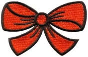 Orange Bow Knot Ribbon Boho Retro Sew Sewing Applique Iron-on Patch New S-437 Cute Gift to Your Cloth.