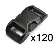 "Bluecell 120 PCS 3/8"" (10mm) Black Contoured Side Release Plastic Buckles"