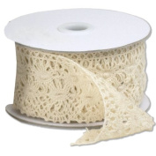 5.9cm wide x 10 yards Ivory Floral Pattern Cotton Crochet Lace Ribbon for Decorating, Floral Designing and Crafts