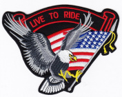 Biker Eagle Live to Ride Iron on Backing Embroidered Patch USA Flag Heat Seal Appliques