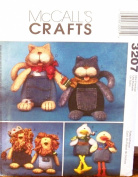 "OOP McCalls Crafts Pattern 3207. Stuffed Lion, Cat & Duck Dolls with Jean Bodies. ""Blue Jean Buddies"""