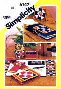 Simplicity 6147 Sewing Pattern Desk Accessories Chequebook Cover Pencil Holder Covered Blotter Frame