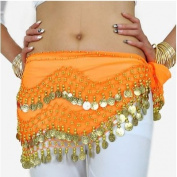 ZITRADES Orange Dance Hip Scarf Chiffon Dangling Gold Coins Vogue Style BY ZITRADES.