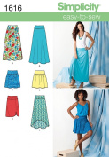 SIMPLICITY 1616 MISSES SKIRTS (6 EASY-TO-SEW) SIZE 8-16 - SEWING PATTERN