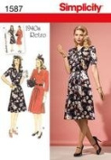 Simplicity 1587 Misses 1940s Retro Dress Sewing Pattern-Size H5