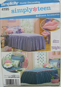 Simplicity 4195 Sewing Pattern ~ Simply Teen Bedroom Accessories, Twin Bedspread, Pillow Sham, Stuffed Bear, Decorative Pillows, Lips, Daisy
