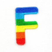 F Character Letter Alphabet Rainbow Appliques Hat Cap Polo Backpack Clothing Jacket Shirt DIY Embroidered Iron On / Sew On Patch