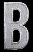 B English Alphabet Letter Character White 5.1cm Appliques Hat Cap Polo Backpack Clothing Jacket Shirt DIY Embroidered Iron On / Sew On Patch #2