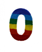 Character Number 0 ZERO Rainbow Letter Alphabet Appliques Hat Cap Polo Backpack Clothing Jacket Shirt DIY Embroidered Iron On / Sew On Patch