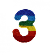 Character Number 3 THREE Rainbow Letter Alphabet Appliques Hat Cap Polo Backpack Clothing Jacket Shirt DIY Embroidered Iron On / Sew On Patch