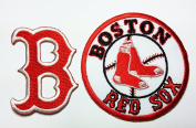 Boston Red Sox Patches 2 Pcs. 4.5x6 Cm / 7.5x7.5 Cm Sew/iron on Patch to Cloth, Jacket, Jean, Cap, T-shirt and Etc.