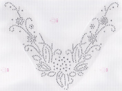 V Flower Neckline Iron On Hot Fix Rhinestone Transfer -- Clear