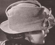 Vintage Crochet PATTERN to make - Womens Fedora Hat Retro 1940s. NOT a finished item, this is a pattern and/or instructions to make the item only.