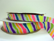 2.2cm By 30 ft Grosgrain Ribbon- Zebra Neon stripe