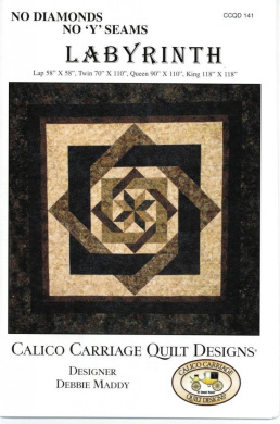 """Labyrinth Quilt Pattern, No Diamonds or """"Y"""" Seams, 4 Size Options"""