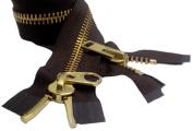 90cm YKK Parka Zipper #10 Brass Extra Heavy Duty 2 Way Separating ~ Colour 570 Brown