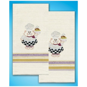 Tobin Stamped Embroidery Kit - Cat Chef Kitchen Towels