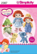 SIMPLICITY 2387 RAGGEDY ANN & ANDY DOLL & CLOTHES 41cm + DOG & CAT 20cm SEWING PATTERN