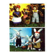 Bear and Bunny Stuffed Animals 1970s Simplicity 9131 Vintage Sewing Pattern
