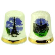 Souvenirs of France - 2 x Paris Monuments Thimbles