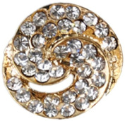Rhinestone Button BRB-111, 1.9cm Gold Resin Base Button, Each Carded