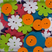 Favourite Findings 48-Piece Big Bag of Felt Buttons, Bright Blossoms