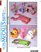 McCall's 5973 Crafts Sewing Pattern Rabbit Duck Frog Stuffed Animals