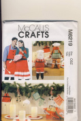 OoP McCall Crafts Sewing Pattern 6219 - Use to Make - Christmas Decorations, Aprons (S-XL), Mitt, Santa and Gingerbread Dolls