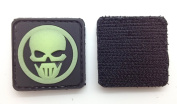 Skull Glow in the Dark PVC hook and loop IFF Patch -Black 30mm