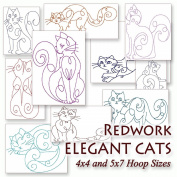 Elegant Cats Redwork Embroidery Machine Kitty Designs on CD - Multiformat