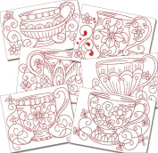 Elegant Kitchen Teacups Redwork Machine Embroidery Designs on CD