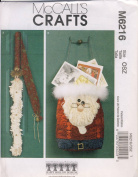 McCall Crafts Sewing Pattern 6216 - Use to Make - Holiday Christmas Decorations - Hanging Santa Bag and Greeter