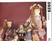 McCall's Crafts Pattern 5929 Curly Hair Rag Dolls and Clothes