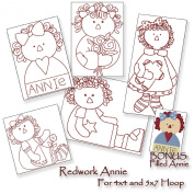Redwork Annie - Raggedy Ann - Machine Embroidery Designs on CD