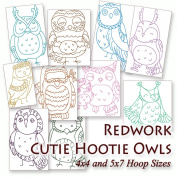 Redwork Cutie Hootie Owls Embroidery Machine Designs on CD - Multiformat