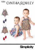 SIMPLICITY 1594 BABIES' ROMPER AND SHOES IN FOUR SIZES ~ (SIZE XXS-L) SEWING PATTERN