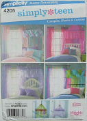 Simplicity 4205 Sewing Pattern ~ Simply Teen Bedroom Decorating Accessories, Canopies, Curtains for Teen Girls