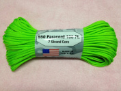Neon Green Solid Colour 7 Strand 550 Paracord Made in USA 100ft Parachute Cord